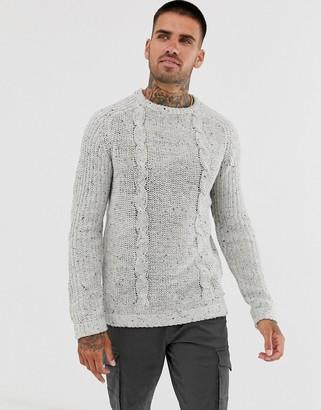 Brave Soul chunky fleck knitted jumper-Grey