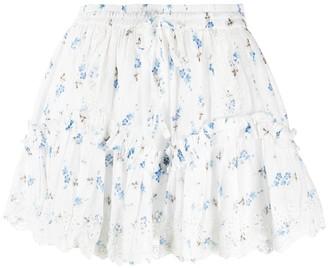 LoveShackFancy Floral Print Ruffle Detail Skirt