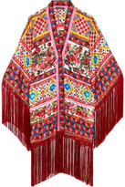 Dolce & Gabbana Fringed Printed Silk-twill Kaftan - Pastel pink