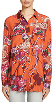 Oui Printed Blouse, Dark Orange/Camel