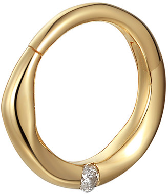 Pamela Love 8mm Floating White Diamond Clicker Single Hoop Earring - Yellow Gold