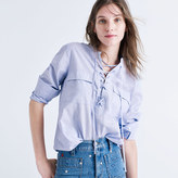 Madewell Terrace Lace-Up Shirt in Waterfall Blue