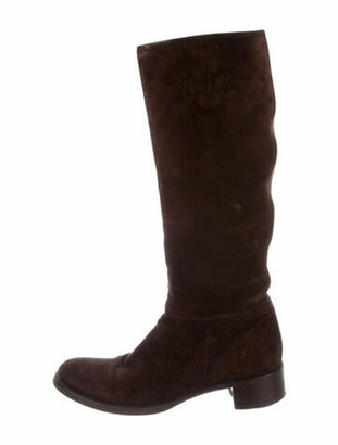 Prada Suede Riding Boots Brown