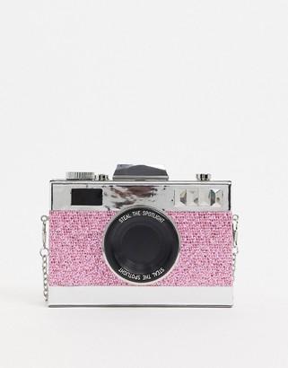 ASOS DESIGN novelty camera clutch bag in pink glitter