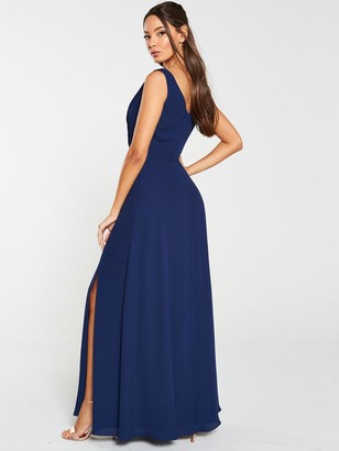 Very Pleated Bust Maxi Dress - Navy