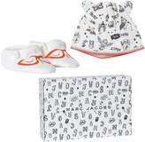 Little Marc Jacobs Off-White Animal Print Jersey Hat and Booties Gift Set