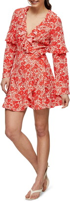 Topshop Floral Print Ruffle Long Sleeve Wrap Minidress