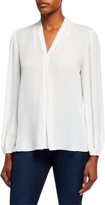 Kobi Halperin Bella V-Neck Blouson-Sleeve Silk Blouse