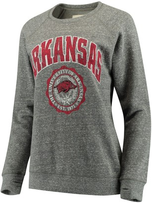Women's Pressbox Heathered Gray Arkansas Razorbacks Edith Vintage Knobi Pullover Sweatshirt
