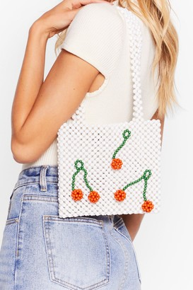 Nasty Gal Womens WANT The Cherry Best Beaded Tote Bag - White
