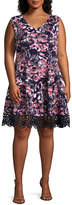 Donna Ricco Sleeveless Floral Fit & Flare Dress - Plus