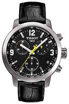 Tissot T0554171605700 Prc 200 Chronograph Date Leather Strap Watch, Black