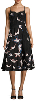 Tracy Reese Linen Bird Print Flared Dress
