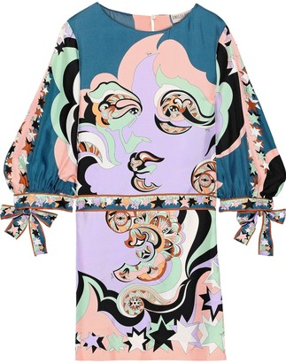 Emilio Pucci Tie-detailed Printed Silk-twill Mini Dress