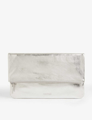 Whistles Chapel metallic leather clutch bag