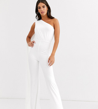Club L London Tall one shoulder drape detail jumpsuit in white