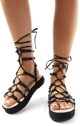 Public Desire Thea Lace Up Studded Gladiator Sandals
