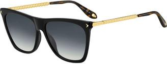 Givenchy Square Acetate & Metal Gradient Sunglasses