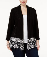 INC International Concepts Plus Size Open-Front Lace-Trim Cardigan, Only at Macy's