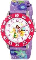 Disney Kids' W000271 Fairies Stainless Steel Time Teacher Pink Bezel Printed Strap Watch