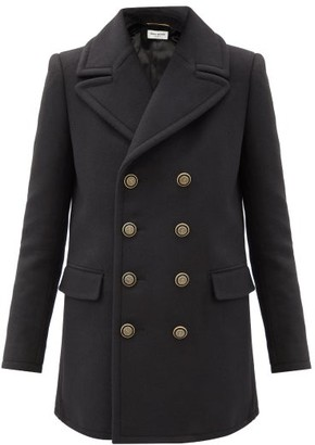 Saint Laurent Anchor-button Wool-blend Pea Coat - Black