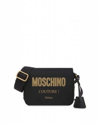 Moschino Laminated Logo Shoulder Bag Woman Black Size U It - (one Size Us)