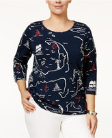Charter Club Plus Size Map-Print Top, Only at Macy's