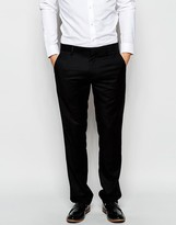 Antony Morato Tuxedo Suit Trousers With Faux Leather Binding In Slim Fit - Black