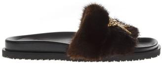 Emanuela Caruso Embellished Brown Mink Sandals