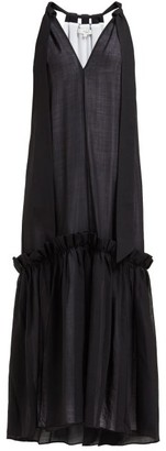Tibi Gauze Overlay Wool-blend Dress - Black
