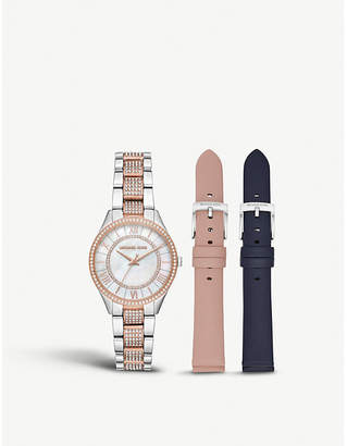 Michael Kors MK4366 Lauryn Silver and rose-gold plated stainless steel and crystal embellished watch