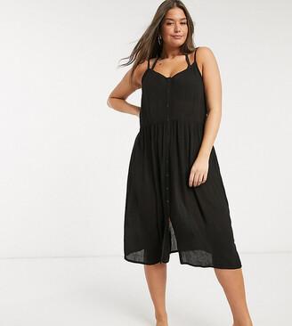 Vero Moda Curve midi sundress with button front in black