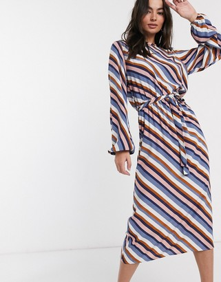 Vila midi dress with high neck in stripe-Multi