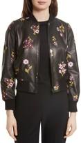 Kate Spade Women's In Bloom Leather Bomber Jacket