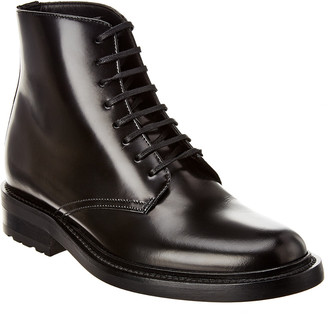 Saint Laurent Army Leather Lace-Up Bootie