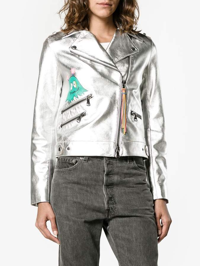Mira Mikati whatever painted metallic biker jacket
