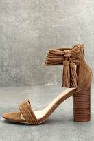 Liliana Parvati Taupe Suede Ankle Strap Heels