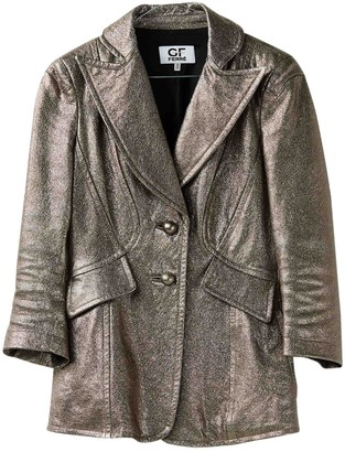 Gianfranco Ferre Gold Leather Jacket for Women