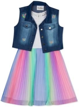 Rare Editions Toddler Girls 2-Pc. Denim Vest & Multicolored Dress Set