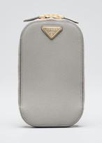 Prada Saffiano Triangle Mini Bag w/ Top Handle and Removable Crossbody Strap