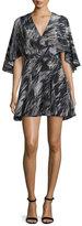 Halston Cape-Sleeve V-Neck Mini Dress, Black Ripple Texture