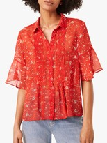 French Connection Delmira Floral Crinkle Detail Blouse, Margot Red/Multi