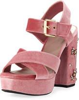 Sam Edelman Morgan Chunky Velvet Platform Sandal