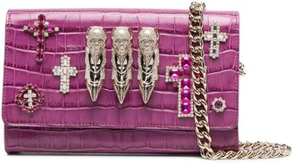 Philipp Plein Baroque embellished leather clutch bag
