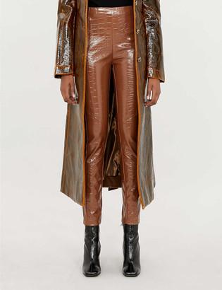 Pinko Gradino mid-rise tapered faux-crocodile skin trousers