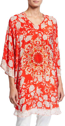 Tolani Plus Size Belle Floral Print V-Neck Silk Tunic
