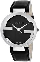 Gucci YA133205 Men's Interlocking Black Leather Watch