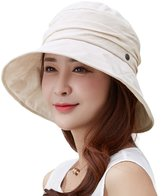 Siggi Womens UPF50+ Summer Sunhat Bucket Crushable Wide Brim Hats w/ Chin Cord Beige