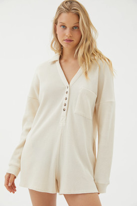 Urban Outfitters Cozy Thermal Long Sleeve Romper