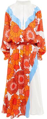 Dodo Bar Or Gathered Printed Silk-satin And Jacquard Midi Dress